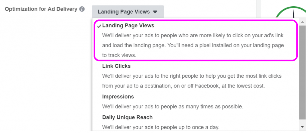 Landing Page Views ad optimization delivery